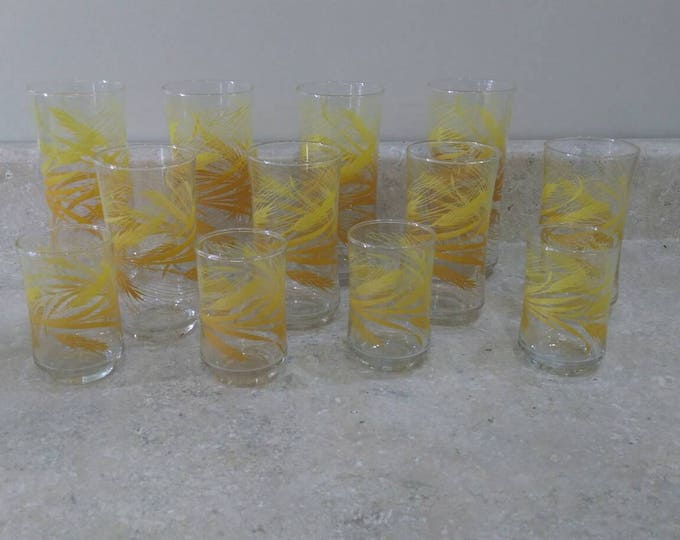 Libbey Golden Harvest Yellow Wheat Glass Set ~ 3 sizes Cocktail Juice Water Set Of 12 Varied Sizes Vintage Retro Orange