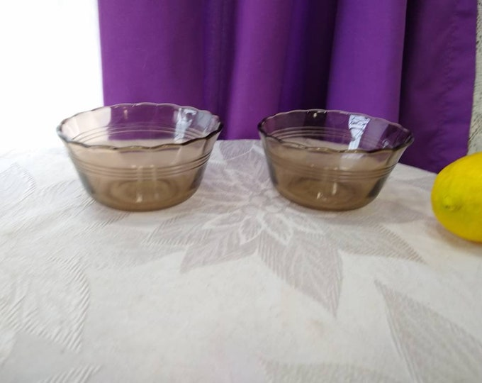 Pyrex Fireside  Smoke Brown Ramekin Set Of 2 Brown Glass Visions Vintage # 463 Custard Cups