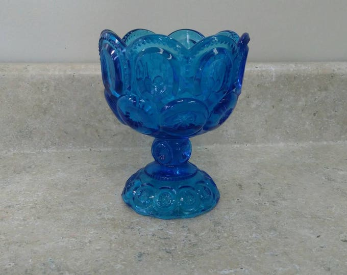 Vintage Azure Colonial Blue LE Smith Glass Moon And Stars Compote Goblet Planter Compote