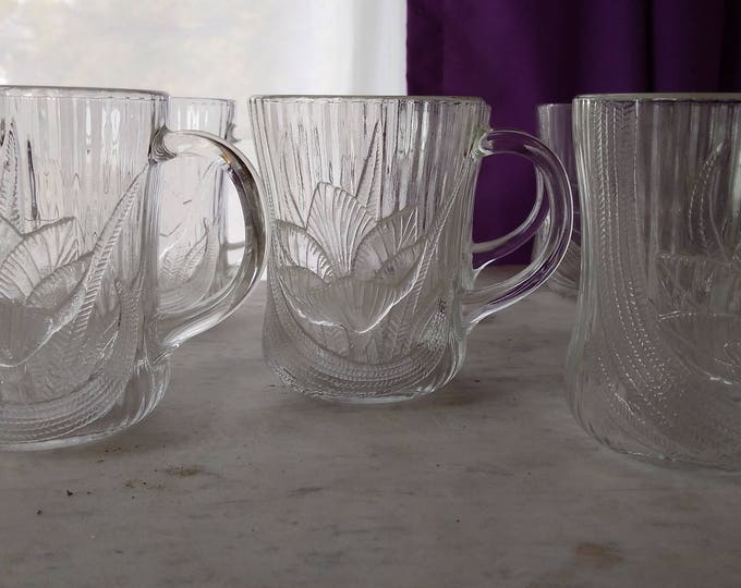 Arcoroc Clear Glass Canterbury Crocus Pattern Coffee Mugs Set Of 4