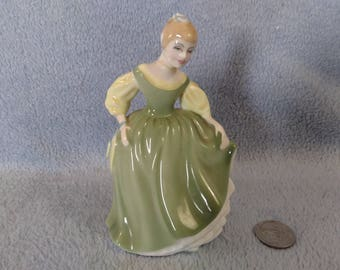 ROYAL DOULTON Bone China Fair Maiden Collectible Fine Art Figurine 1966  HN2211 Woman Green Dress Vintage Antique Statuette