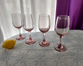 Libbey Premiere Blush Pink Wine Glasses Set Of 4 Stemware Retro 80's Dining