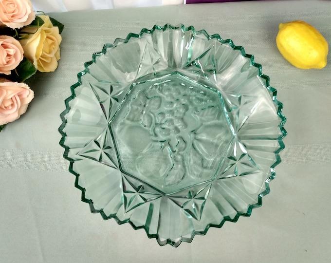 Federal Pioneer Pattern Georgian Coke Green Pressed Glass 10 Inch Bowl Fruit Embossed Center Crimped Edges Rim Large Soup Bowl Depression