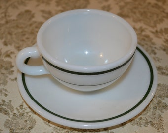 Vintage Corning Pyrex Double Tough Green Band Tea Cup And Saucer Restaurant Ware Mid Century Vintage Kitchen Collector