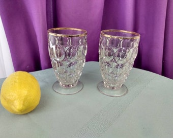 Jeannette Thumbprint Juice Glasses Footed Clear Gold Trim Thumb Print Mid Century Drinkware