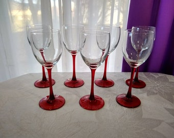 Special order!! Red Stemmed Wine Glasses Luminarc Cristal D' Arques Durand Set Of 7 Red Stemware Arcoroc France Retro 80's