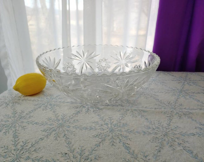 Star Of David Prescut Crystal Clear Glass Serving Bowl EAPG Large Salad Centerpiece Bowl Early American Pressed Glass