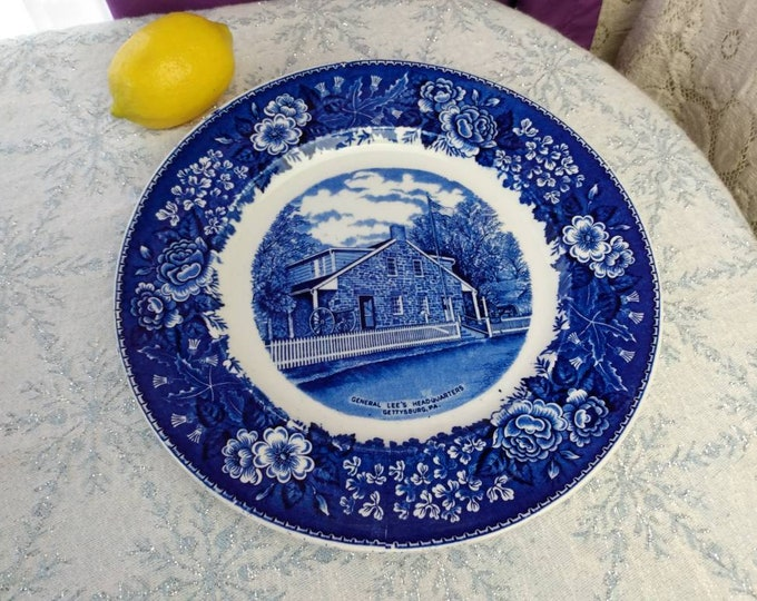 Gettysburg General Lee's Headquarters Blue Plate Staffordshire Ware England Colonial Transferware American Historical Civil War Collectible