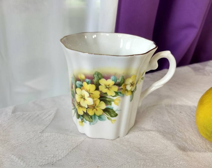 Royal Grafton Fine Bone China Porcelain Coffee Cup Yellow Blue Flowers Retro 1960's English Tea Mug Collectible Floral Patterns Gift Mother