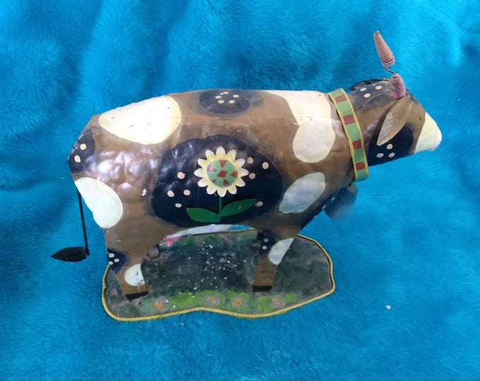 Tin Tole Daisy Cow With Bell Primitive Farm Decor Figurine Gift