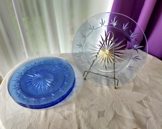 American Blue Classic DINNER Plates Set Of 2 By Fostoria Clear Light Blue Starburst Pattern Replacement Sold Through Avon GrandesTreasures