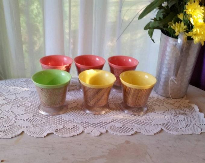 Raffia Footed Dessert Cups ~Parfait Bowl ~ Pedestal Bowl  Pink Yellow Green ~ Set of 6 ~ Rafiaware Tableware Melmac Plasticware