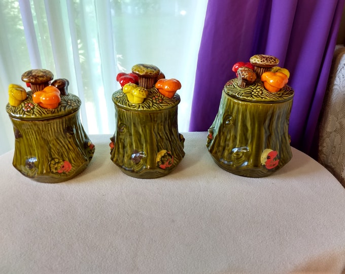 California Pottery Green Tree Stump Mushroom Cannisters 2956 Set Of 3 Varied Sizes Height 5 ~ 5 1/2 ~ 6 Inches Tall 2956 S. C. T.