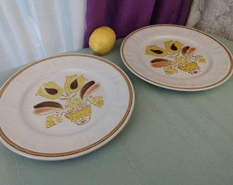 American Hearthside Bountiful Dinner Plates Replacement Stoneware Ceramic Retro Dinnerware Harvest Yellow Brown Beige Japan GrandesTreasures