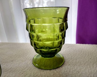 Indiana Avocado Whitehall Footed Glasses Set Of 4 ~  Footed Tumblers Fostoria Cubed Geometric Drinkware Olive Green Retro Kitchen 1960's