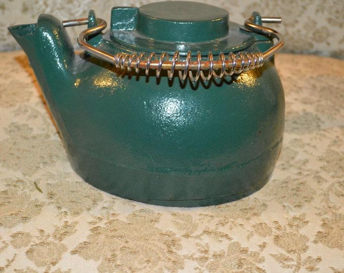Cast Iron Tea Pot Wood Stove Humidifier Green Enamel Farm House Rustic Decor Cabin Camping Rustic Motif