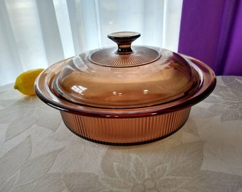 Visions B 32 B Large Amber Brown Casserole With Lid Pyrex Corning Dish Cover