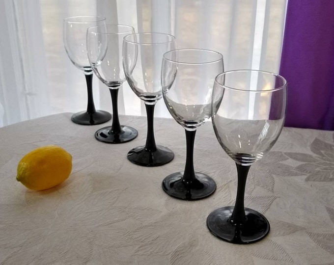 Black Stemmed Wine Glasses Arcoroc Luminarc Cristal D' Arques Durand Set Of 5 Classic Retro Barware