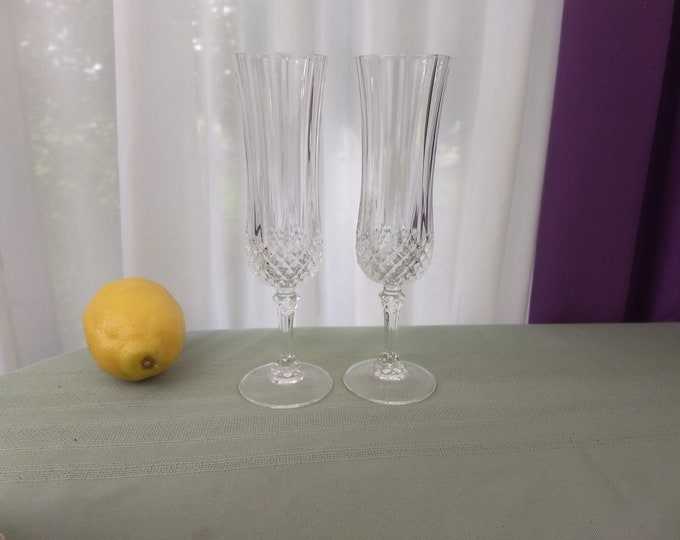 "Longchamp Crystal Flutes Cristal D""Arques France Set Of 2 Replacement Champagne Glasses Discounted"