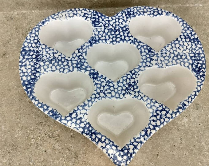 Blue Stoneware Heart Muffin Dish Blue Heart Shape Spongeware Muffin Pan Valentine Romantic