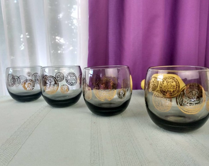 Roly Poly Glasses Gold Coin On Smoke Gray By Federal Glass Set Of 4 Mid Century Coctail Glasses Mad Men Barware Federal Glass Rolly Polly