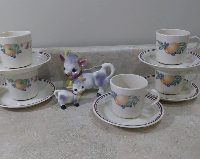 Set of 5 Corning Corelle Abundance Tea Coffee Cups With Saucers Cups Fruit  Maroon And Blue Band