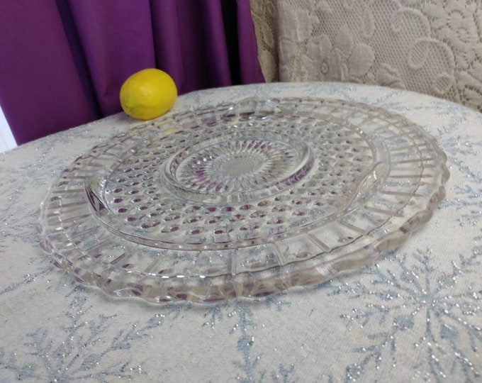 Federal Glass 2889 Clear Pattern Footed Cake Plate Sunflower Bubbles