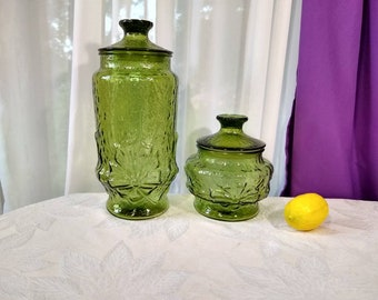 Vintage Avocado Green Spring Rainflower Glass Canisters Set Of 2 Anchor Hocking Retro 70's Kitchen Olive Green Decor Vintage Collectible
