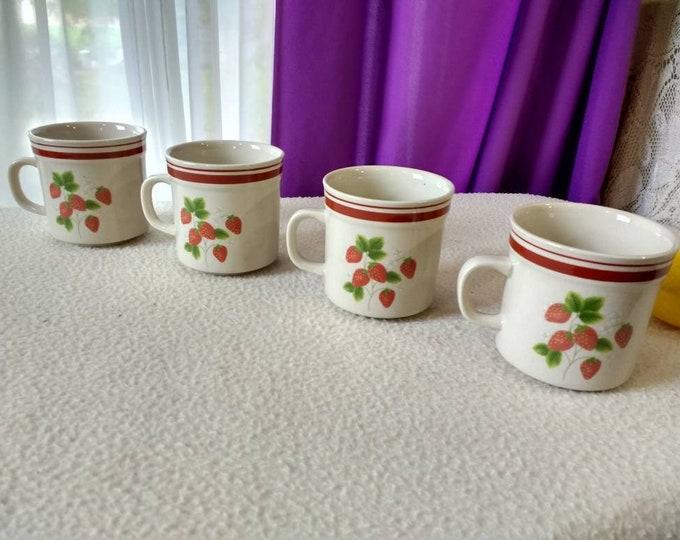 Retro Wild Strawberry Ceramic Mug Set Country Kitsch Red Kitchen Decor Set Of 4 Housewarming Gift