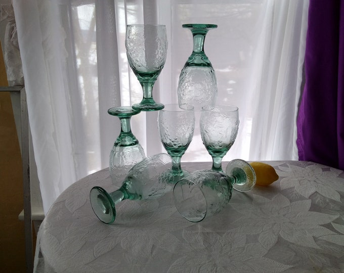 Libbey Orchard Fruit  Mint Green Water Goblet Retro 80's ~ Set Of 4