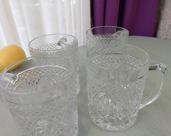 Antique Clear Mugs Cristal Darques By Arcoroc France Set Of 2 Vintage Replacement Coffee Cups