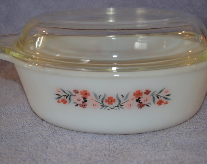 Vintage Fire King Primrose Pink Red and Gray Floral Pattern 467  1 1/2 Quart Oval Casserole with Au Gratin Cover