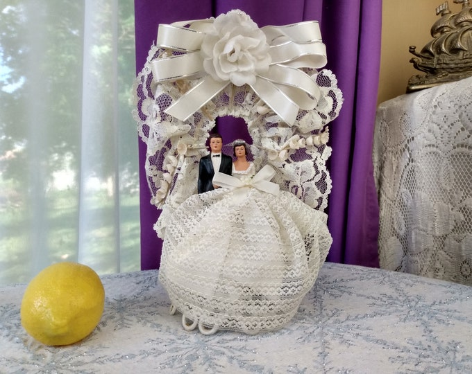 Mid Century Wedding Cake Topper DIY Wedding Affordable Wedding Something Old 1950's MCM Traditional Lace