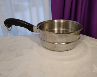 Saladmaster Stainless Steel 8 inch Pan Strainer Mid Century Cookware Kitchen Black Bakelite Handle Intact RARE