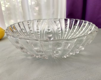 Anchor Hocking Bubble Burple Glass Art Deco Footed Centerpiece Fruit Bowl Tri Footed Clear Made In America Classic Anchor Affordable Gift