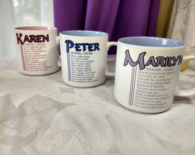 Peter Marilyn Karen Papel Coffee Mugs Sold Individually Ceramic Name Cup Birthday Gift Personalized Mug Name Meaning Description