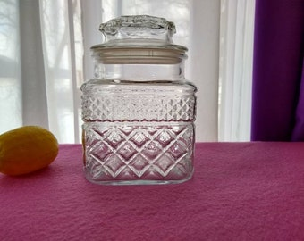 Anchor Hocking Wexford Canister Medium Coffee Jar Apothecary Jar Chris Cross Diamond Pattern Faux Crystal Kitchen Storage Canister