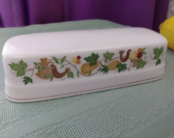 Noritake Progression Homecoming Cover For Butter Dish 9002 Harvest Fall Brown Green Fruits Leaves Bird Pattern Replacement Dish Cover