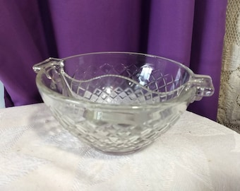 Anchor Hocking Waterford Clear Divided Dish Depression Glass Relish Dish Candy Bowl True Depression Glass Waffle Pattern RARE Piece