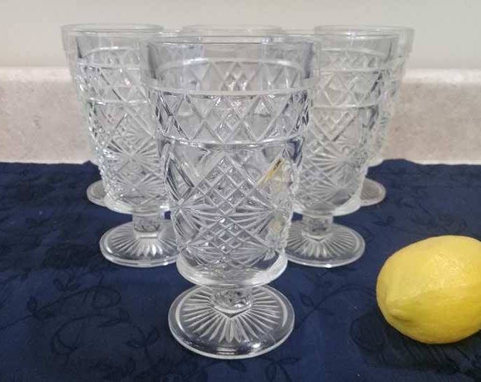 Hazel Atlas Set Of 6 10 Oz. Clear Footed Gothic Mid Century Tumblers Water Glasses Drinkware