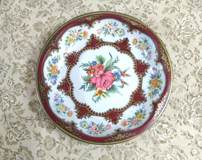 Daher lithograph Painted Decorated Ware 1971 Maroon Floral Tin Metal Decorative Bowl