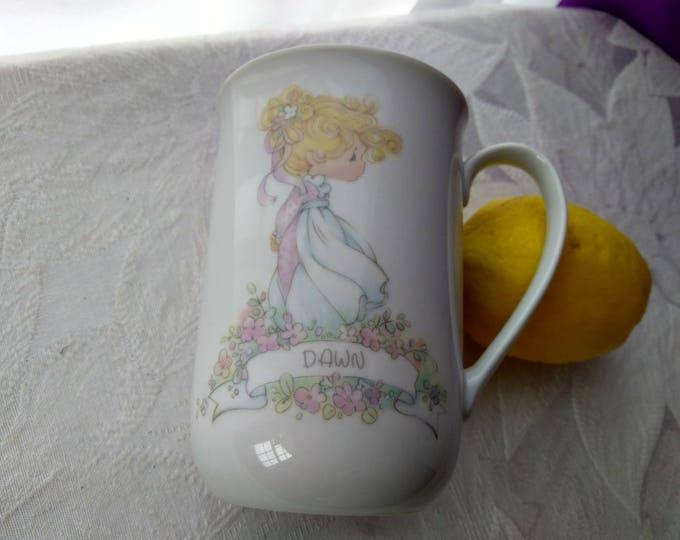 Vintage DAWN Precious Moments Ceramic 1990 Coffee Mug Personalized Name Cup Samuel L Butcher Artist