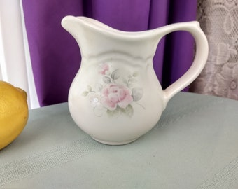 Pfaltsgraff Tea Rose Creamer Replacement Stoneware Pink Blue Floral On Beige
