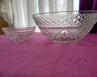 Arcoroc Cristal D'Arques Durand Designer Antique Pattern 10 1/4 Inch Clear Luminarc Glass Bowl Salad Chip And Dip Set  Serving Pasta Bowl