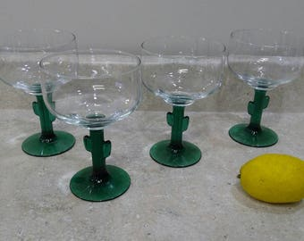 Cactus Green Stem Margarita Glasses By Libbey Cozumel Green Stem South Western West Decor Tequila Glasses Tex Mex Set Of 4