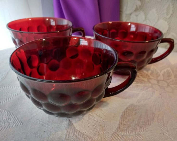 Ruby Red Bubble Pattern Tea Cups Collectible Replacement Anchor Hocking Set Of 3 No Saucers