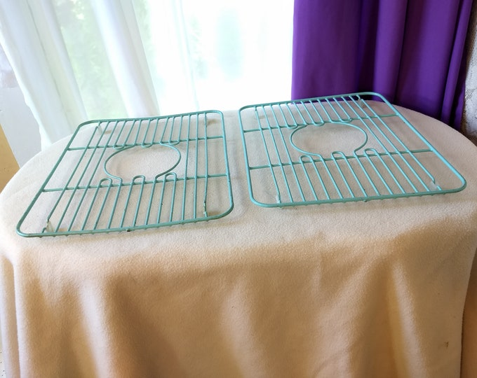 RARE Matching Set of 2 Aqua Classic Vintage Mid Century Rubbermaid Sink Enamel Protector Guards Inserts Coated Wire Dish Rack Plate Saver