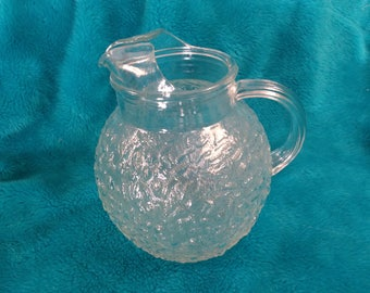 Anchor Hocking Lido Milano Clear Glass Water Pitcher Crinkle