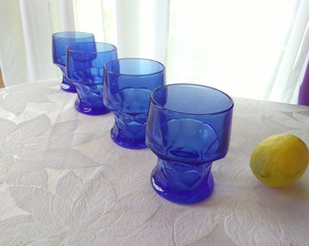 Cobalt Blue Georgian Honeycomb Tumblers Anchor Hocking Set Of 4 Vintage Heavy Restaurant Style Water Glasses Gift For Him Retro Cocktail Bar