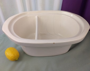 Vintage 4 1/2 Qt Replacement Divided White Oblong Crock Pot Insert Rare Slow Cooker Stoneware Ceramic Insert ~ # 3780
